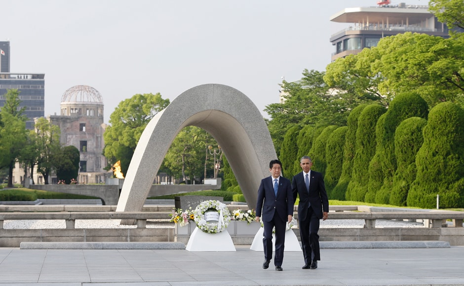 Barack Obama with Japanese Prime Minister Shinzo Abe. Technological progress without equivalent progress in human institutions can doom us. The scientific revolution that led to the splitting of the atom requires a moral revolution as well, Obama said. AP