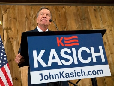 Republican presidential candidate John Kasich pauses as he speaks in Columbus. Ohio. AP