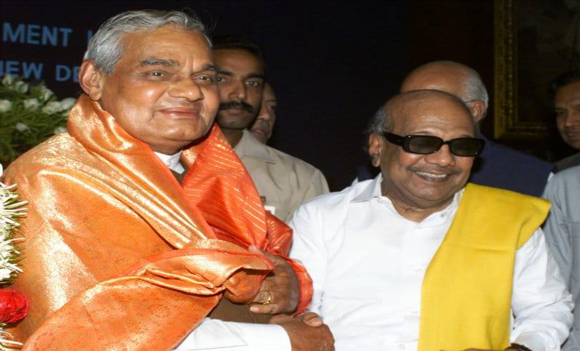 DMK patriarch Karunanidhi with former PM Atal Bihari Vajpayee. Reuters