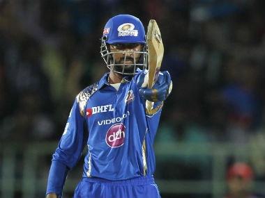 Krunal Pandya gestures after bringing up his maiden IPL 50. BCCI