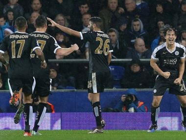 Leicester City players celebrate scoring against Everton. Getty Images