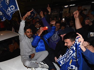 Leicester City fans celebrate on the streets as Leicester City clinch Premier League after Chelsea hold Tottenham Hotspur. Getty