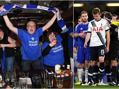 (L)eicester City fans celebrate at a bar as their team becomes Premier League champions. (R) A scuffle breaks out after Eric Dier of Tottenham Hotspur brings down Eden Hazard. Getty
