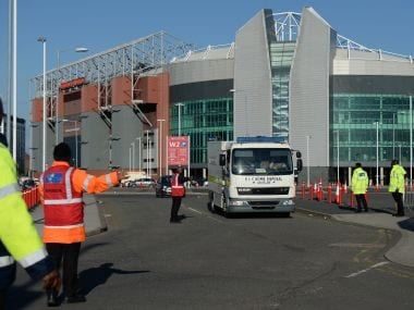 A British Army Bomb Disposal Unit truck leaves Old Trafford. AFP