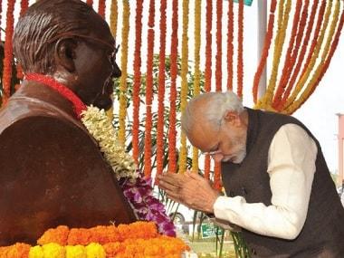 Narendra Modi pays his respects to BR Ambedkar. Twitter @narendramodi