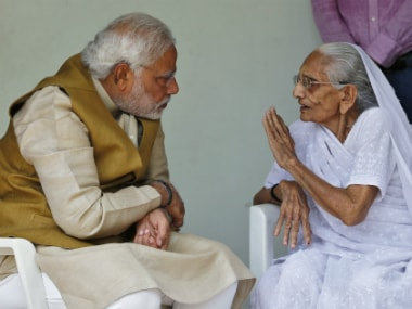 File image of PM Modi with his mother Heeraben. Reuters