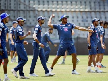 Mumbai Indians' players during the practice session. PTI