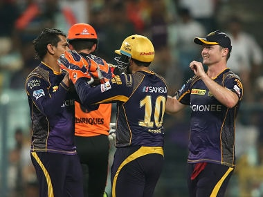 Sunil Narine celebrates after taking the wicket of Moises Henriques. BCCI