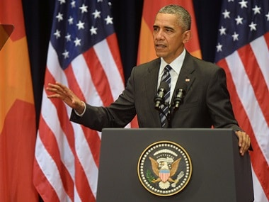US President Barack Obama delivers a speech at the National Convention Center in Hanoi. Reuters