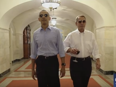 Barack Obama showing people how retirement is done. Screenshot from YouTube video
