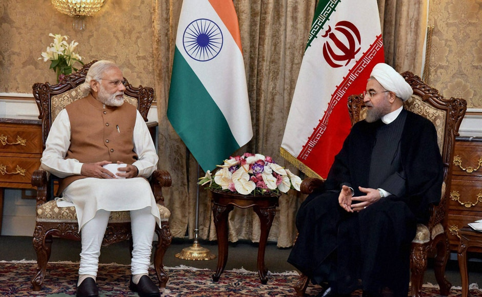 PM Narendra Modi With Iranian President Hassan Rouhan during their meeting in Tehran. PTI