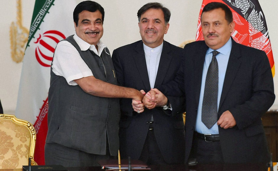 Union Minister for Transport Nitin Gadkari during agreement signing after Trilateral meeting at Saadabad Palace in Tehran. PTI