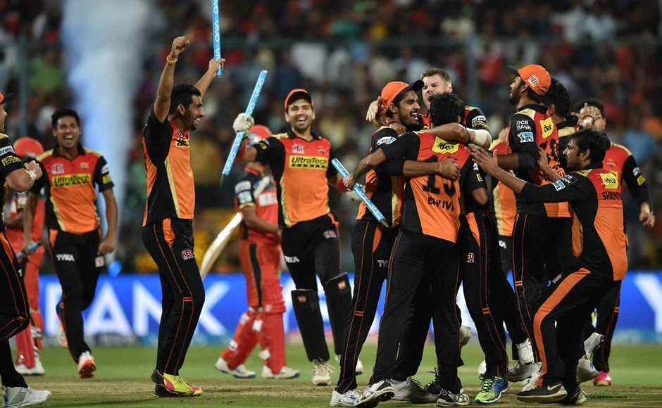 Sunrisers Hyderabad players celebrate after winning the IPL 2016 title. PTI