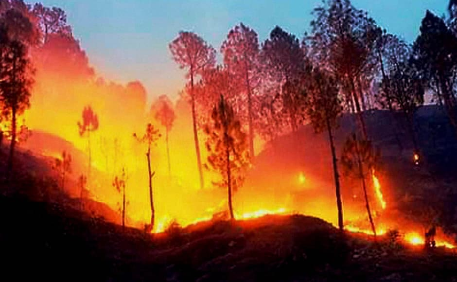 A massive fire in the forests at Kotdwar, Uttarakhand. PTI