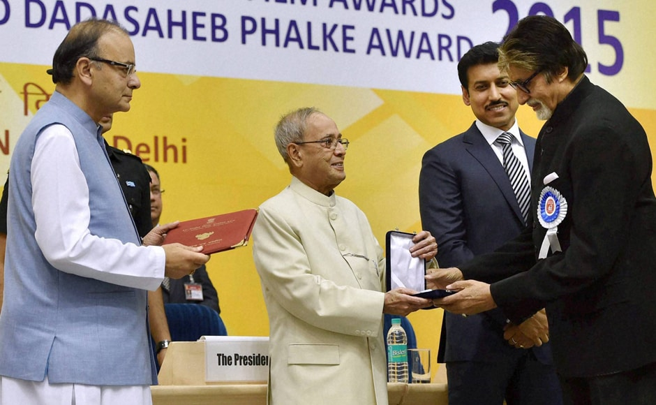 President Pranab Mukherjee presents Best Actor award to Amitabh Bachchan at the 63rd National Film Awards 2015 function in New Delhi on Tuesday. I & B Minister Arun Jaitley and Minister of State Rajyavardhan Singh Rathore are also seen. PTI  image.