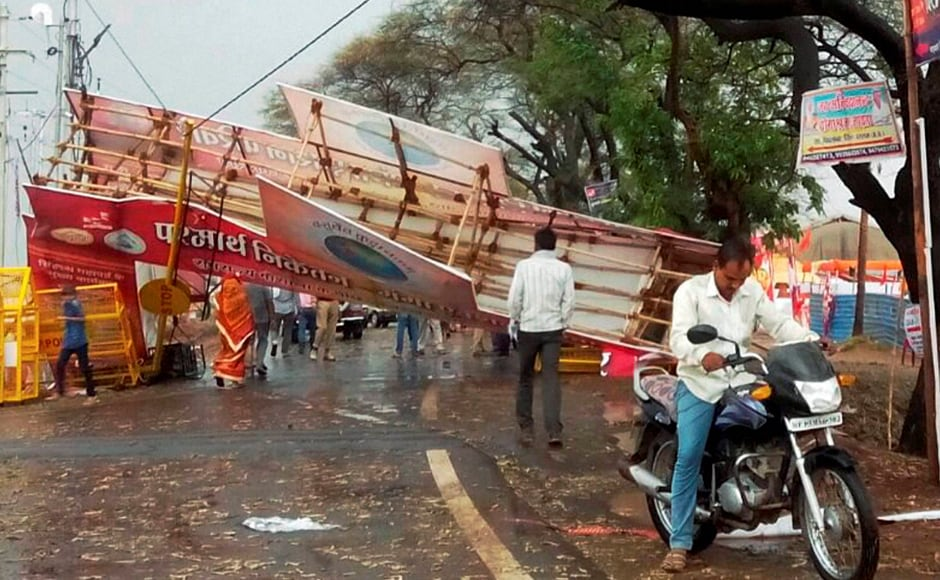 A pandal collapses after heavy thunderstorm at Simhastha Mahakumbh in Ujjain. PTI