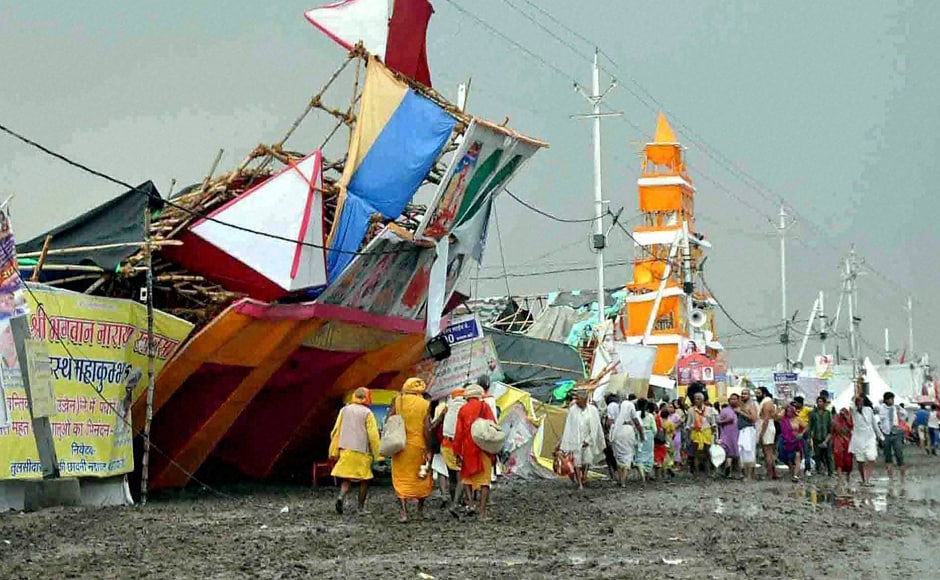 A view of damaged pandals after heavy rains and storm during Simhashta Maha Kumbh Mela in Ujjain. PTI