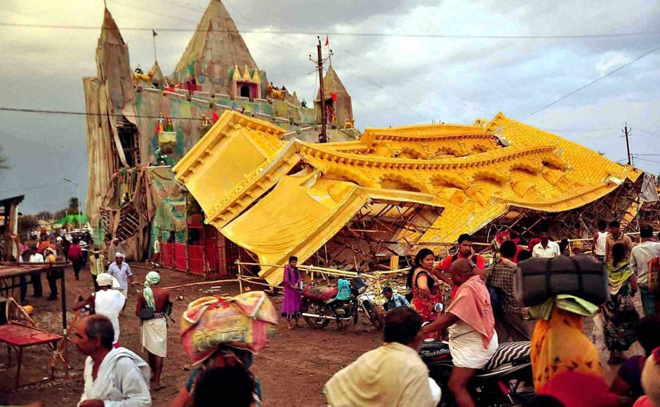 A view of damaged pandal after heavy rains and storm during Simhashta Maha Kumbh Mela in Ujjain, Madhya Pradesh on Thursday. PTI
