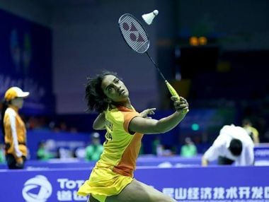 PV Sindhu in action at the Uber Cup. Image courtesy: BWFBadminton