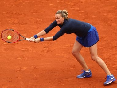 Petra Kvitova of the Czech Republic stretches for a backhand at French Open. Getty Images