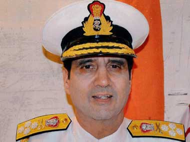 Outgoing Navy chief RK Dhowan. PTI