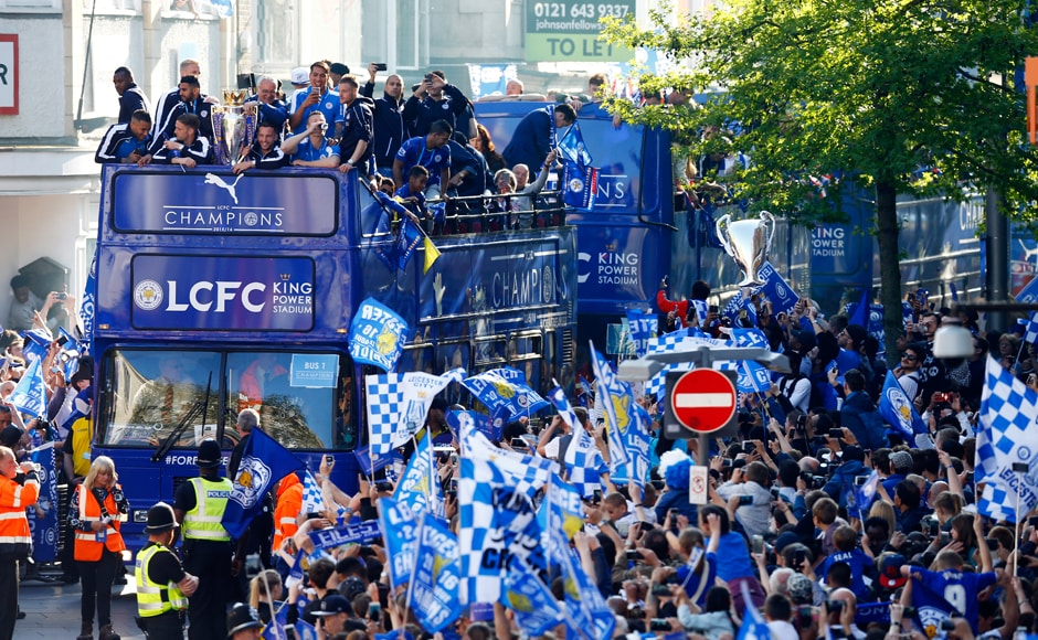 Leicester City celebrate with the Premier League trophy on the bus during the parade. Reuters / Darren Staples Livepic