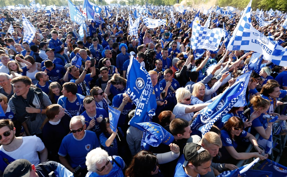 Leicester fans turned out in hordes and turned the city blue. Action Images via Reuters / Carl Recine Livepic