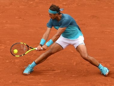 Rafael Nadal in action during the second round match against Facundo Bagnis. Getty Images