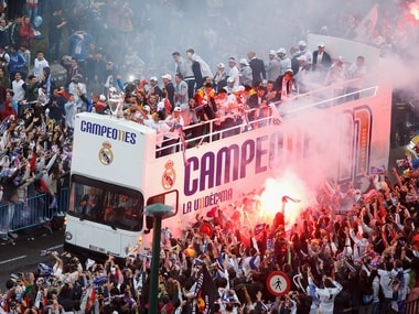 Real Madrid Champions League win with fans in Madrid. Getty