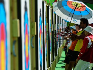 File photo of archers practicing during the first day of the Archery test event for the Rio 2016 Olympic Games. AFP