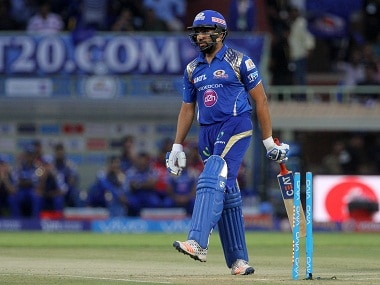 Mumbai Indians captain Rohit Sharma reacts after being dismissed. BCCI