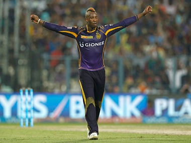 Andre Russell of Kolkata Knight Riders celebrates the wicket of David Miller. Sportzpics