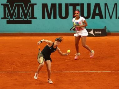 Martina Hingis and Sania Mirza in action at the Madrid Open. Getty