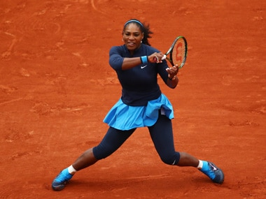 Serena Williams plays a forehand during the first round against Magdalena Rybarikova. Getty Images