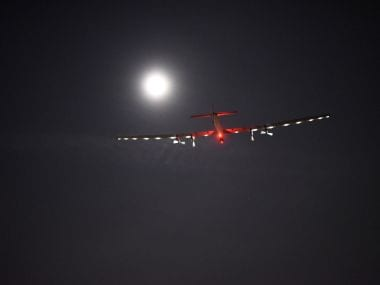 Solar Impulse 2, the solar airplane of Swiss pioneers Bertrand Piccard and Andre Borschberg. AP