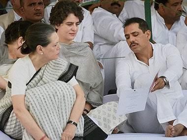 Congress President Sonia Gandhi with daughter Priyanka and son-in-law Robert Vadra. File photo. PTI