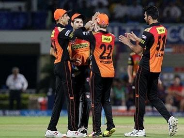 Sunrisers Hyderabad players celebrate a wicket. BCCI