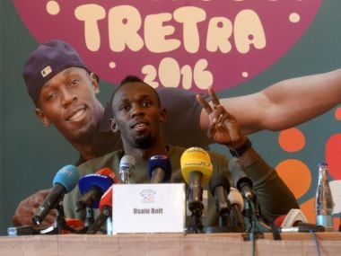 Usian Bolt at a press conference in Ostrava. AFP