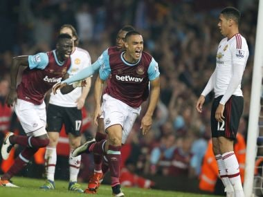 West Ham's Winston Reid celebrates after scoring against Manchester United. AP