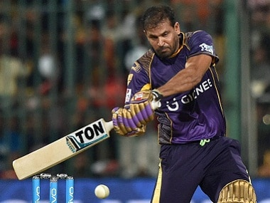 Yusuf Pathan plays a shot against Royal Challengers Bangalore. BCCI