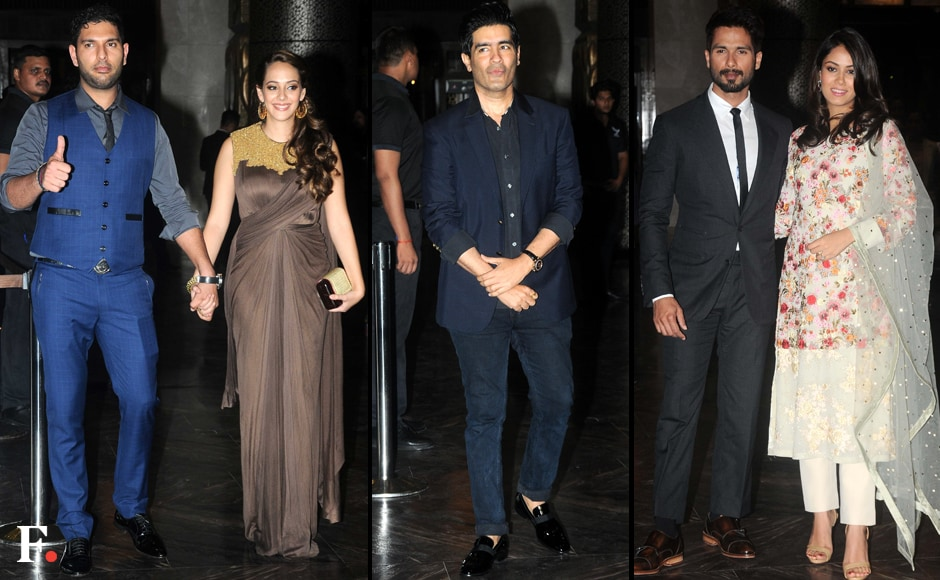 (L to R) Cricketer Yuvraj Singh with fiancé, Hazel Keech, Designer Manish Malhotra and Shahid Kapoor with pregnant wife, Mira Rajput. Firstpost/Sachin Gokhale