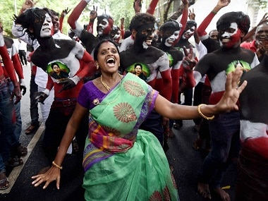AIADMK supporters celebrate the party's victory in Tamil Nadu's Assembly elections. PTI