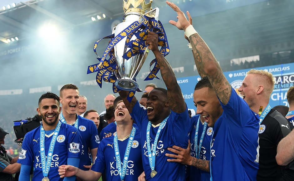 Jeff Schlupp joins the fun! Leicester City players and staff are overjoyed at being crowned champions. Getty