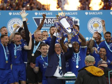 Leicester lifted the Premier League trophy after win against Everton. AFP