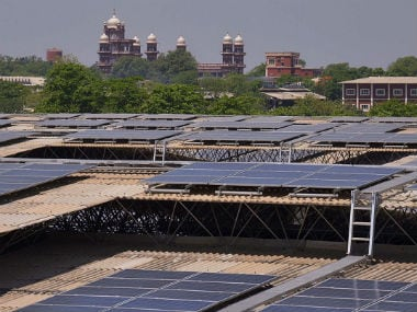 Rooftops covered in solar panels at the Indian Solar Photovoltaic Power Plant on Tuesday. AFP/Getty Images