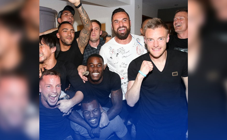 Leicester City players had a match viewing party at striker Jamie Vardy's house, which soon turned into a celebration as Hazard equalised for Chelsea. Image Credit: Twitter @LCFC