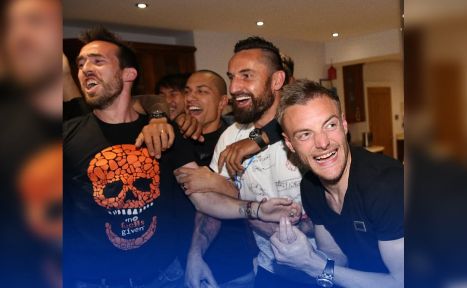 Jamie Vardy's party with Christian Fuchs, Danny Drinkwater, Wes Morgan as they celebrate their first Premier League triumph. Image Credit: twitter @LCFC