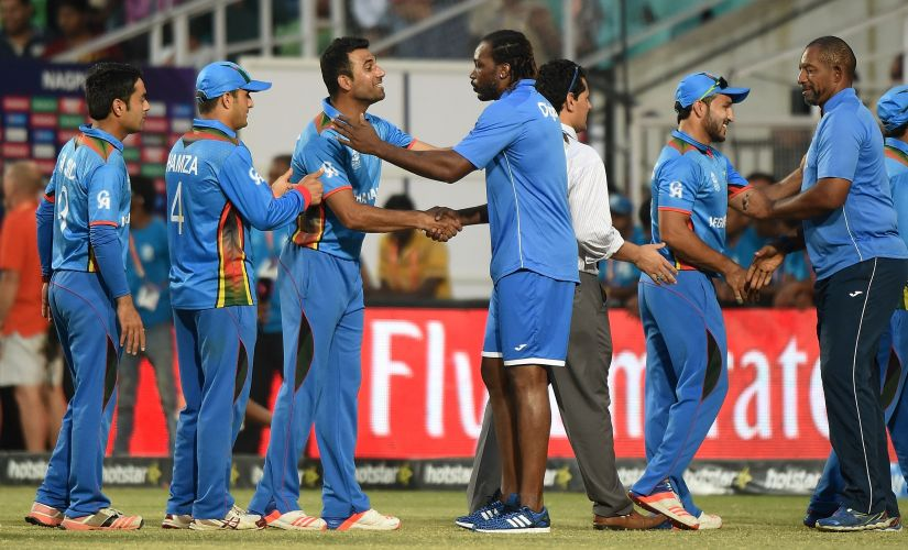 Chris Gayle congratulated Afghanistan after their win over West Indies in the World T20. AFP
