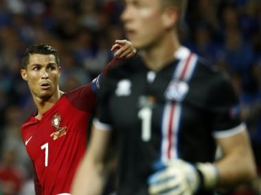 Cristiano Ronaldo reacts during the Euro 2016 group F football match between Portugal and Iceland. AFP