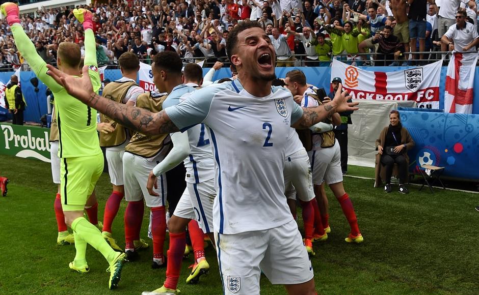 England's defender Kyle Walker celebrates after the Euro 2016 group B match. AFP